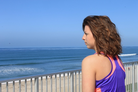 thinking at the beach, in Carlsbad, California.